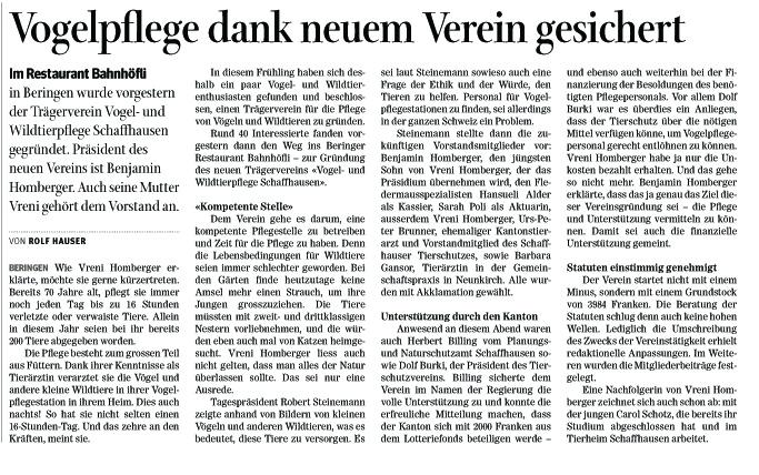 Schaffhauser Nachrichten - Ausgabe vom 16.08